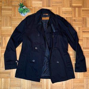 ZARA Man Black Button Pea Coat Overcoat Formalwear